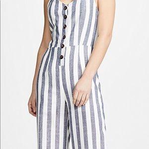 NWT Japna Ivory and Blue Striped JumpSuit Medium